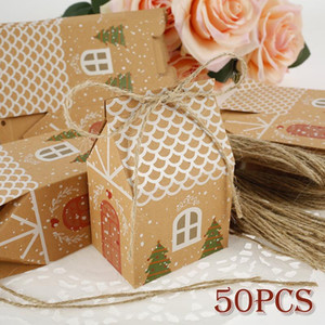50Pcs Christmas Party Gift Boxes Kraft Paper House Shape Bag Birthday Christmas Present Boxes 2021 New Year Party DIY Xmas Decor