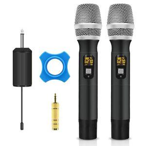 UHF sem fio Karaoke dupla Handheld Miniphone 25 Canal com portátil polegadas saída do receptor 1/4, para Igreja System / PA / casamento / Bus