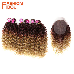 FASHION IDOL Afro Kinky Curly Hair 16-20 inch Synthetic Hair Bundles Lace Front With Closure Weave Hair Free Shipping Q1128