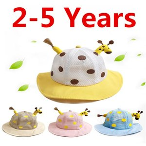 Summer Children Hollow Caps Baby Girls Fisherman Hat Kids Girls Giraffe Hat Fashion Baby Bucket Sun Cartoon 2-5Years