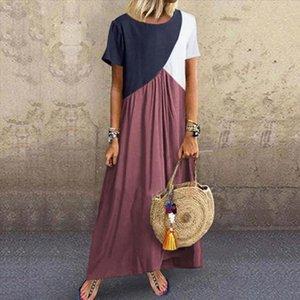 Plus Size Womens Dress Loose O Neck Short Sleeve Summer Dresses Patchwork Ankle Length Vestidos Vintage Sukienki Damskie