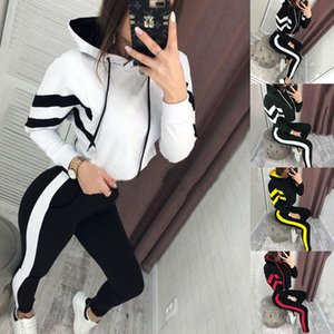 Women Tracksuits Two Pieces Set Hooded Exposed Navel Clothing Line Stitching Ladies New Fashion Sportwear Outfits Autumn