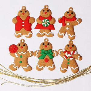 6Pcs Mini Gingerbread Man Christmas Decorations for Home Ornaments Snowman Chrismas Tree Pendant Decoration New Year Noel Decor