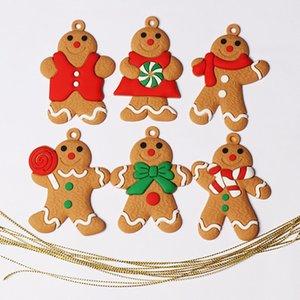 6 unids Mini Gingerbread Hombre Decoraciones de Navidad para adornos para el hogar Muñeco de nieve Chrismas Árbol Colgante Decoración Año Nuevo Decoración Noel