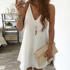 dress Fashion Women Sexy Solid Chiffon Sleeveless V Neck Camisole Mini Suspender Dress Summer new dress women 20606