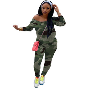 Camouflage Print Womens Two Piece Outfit Long Sleeve Crew Neck 2PCS Set Fashion Casual Female Clothing Multiple Styles