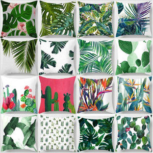 Fashion Rainforest Leaves Africa Tropical Plants Hibiscus Flower Throw Soft Cotton Pillow Case Chair Sofa Cushion Cover 45*45cm