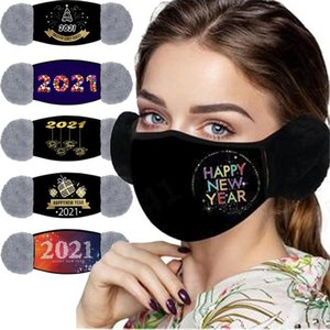 Happy New Year Mask 2021 Designer 2 In 1 winter With Ear Cover Warm Face Masks Dust-proof Printing Mouth Masks GH1140