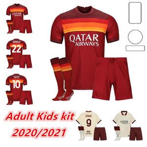 Adulto Kids Kit 20 21 Roma Home Away 3rd Jerseys de futebol Pastore Perotti Totti De.Rossi Juventude Criança Roma Camisetas Futebol Camisa