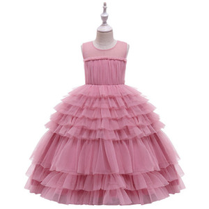 Ins Tutu girls dresses lace tiered girl dress long kids dresses fashion formal dresses pageant dress princess dress big kids clothes B3062