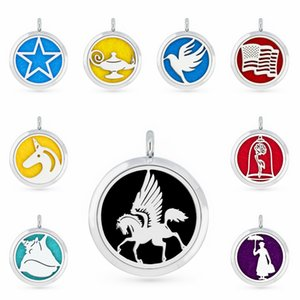 Flying Horse 30mm Essential Oil Aromatherapy Perfume Necklace Pendant Diffuser Locket Pendant Fit For Necklace Women Jewelry With 5pcs Pads