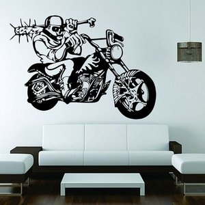 Motorcycle Skeleton Wall Decal Skull Rider Motorbike Cool Style Vinyl Window Stickers Teens Bedroom Garage Interior Decor 1809