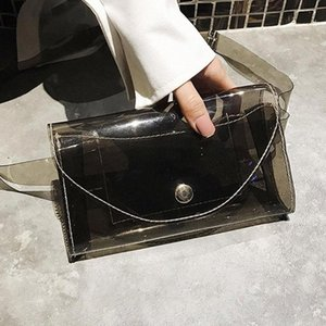 Мода Wasit Bag для женщин PVC Mini милый водонепроницаемый прозрачный желейный пакет простые красочные квадратные HASP женские сундук 2020 W0MF #