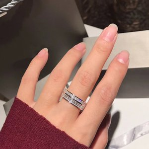 Pure S925 Sterling Silver Jewelry cz zircon crystal diamond ring Created Moissanite Gem stone ring Wedding Engagement Party Fine Jewelry