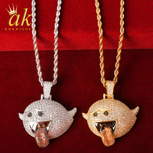 Flying Ghost Rock Collana Gold Color Materiale Copper Zirconi cubici Bling Charms Hip Hop Rock Street