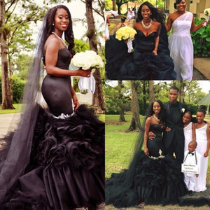 2021 Vintage Black Mermaid Wedding Dresses Tutu Puffy Skirt 2021 Gothic Sweetheart Strapless Long Train Graden Retro African Bridal Gowns