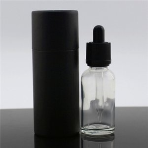 Factory 15 30 50ml Clear Glass Essential Oil Bottle with Childen Safty Dropper Cap Custom Black Kraft Paper Cardboard Box with Logo Freeship