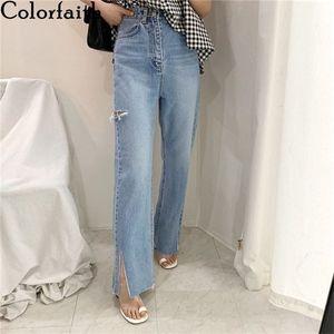 Colorfaith New 2020 Women Summer Autumn Jeans Casual High Waist Trousers Ripped Denim Raw Edge Slit Wild Ankle-Length Pants J537 A1112