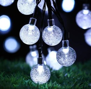 6.5M 30 LED Crystal Ball Solar Powered Light Outdoor String for Outside Garden Patio Party Christmas Solar Fairy Light Strings Gift BEF3314