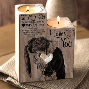 Для моей девушки 2 шт. / Набор в форме сердца ремесло деревянные подсвечник подсвечник шельф День святого Валентина украшения подарок подсвечники дома T200624