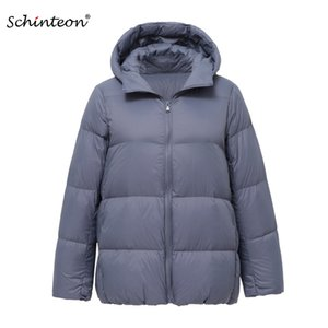 2020 Schinteon Light Down Jacket 90% White Duck Down Coat Casual Loose Winter Warm Outwear with Hood High Quality 9 Colors
