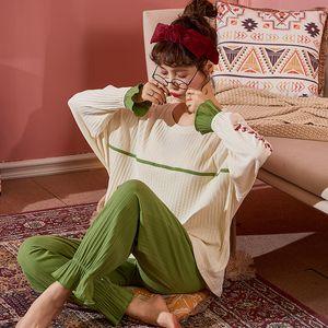 Autunno Inverno 2020 Wavmit superiore lungo femminile Pajamas Set Nightsuit cotone Sleepwear delle donne di svago Outwear