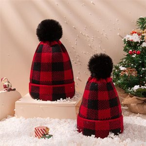 Parent-child Beanie Crochet Hats Christmas Plaid Winter Warm Knitted Cap Baby Moms Outdoor PomPom Hats Adult Kids Skull Caps EWA2604