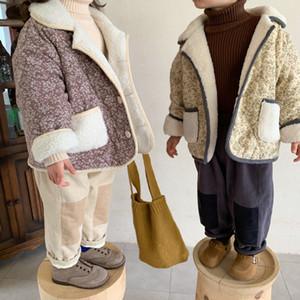 Korean style 2020 girls boys fashion floral woolen thick coats Kids warm thicken short jackets Y1113