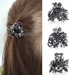 Donne Gorgeous Strass Small Flower Claw Clips Crystals Cristalli di metallo Porkspins Accessori per capelli per Girl Headdress Ornament