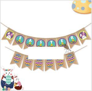 Pascua Pull Bander Pascua Huevo Impreso Banners Ropa de dibujos animados Rabbit Banner Banderas Pull Banders Colgar banners Inicio Festival Partido Fotos Props WMQ131