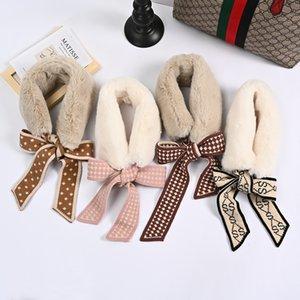 2020 hot sale autumn and winter warm wool collar knitted Bib female Rex Rabbit Plush scarf warm wool ribbon hair collar