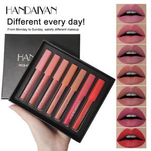 handaiyan 7colors / 세트 패션 립 광택 세트 천연 보습 방수 벨벳 액체 립스틱 선물 상자 절묘한 립 메이크업