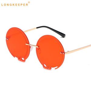 2021 New Unique Oversized Round Sunglasses Women Men Vintage Rimless Sun Glasses Female Red Shades UV400 lentes de sol mujer