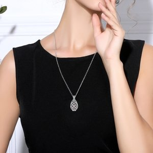 EUDORA mm Chain Knot Water Drop Pendant Aromatherapy Cage Diffuser Necklace fit Volcanic Lava Stone Ball Fine Jewelry KN