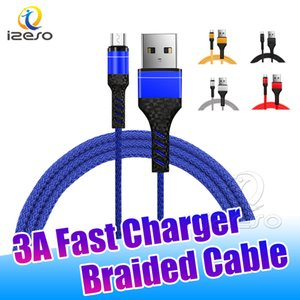 1M Type C 3ft Braided USB Fast Charger Cable Micro V8 Cables Data Line Metal Plug High Speed Charging with Retail Package izeso