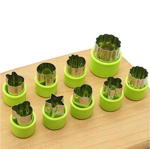 Moldes de estrellas de animales Formas de corte de vegetales Conjunto Acero inoxidable Mini cortadores de galletas Moldes para moldes para frutas decorativas Herramientas para hornear DHB3611