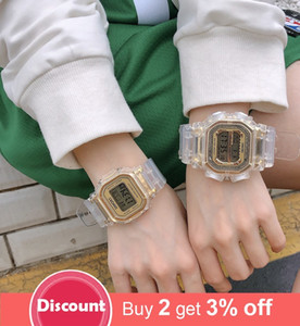 Fashion Men Women Watches Gold Casual Transparent Digital Sport Watch Lover's Gift Clock Waterproof Children Kid's Wristwatch 201204