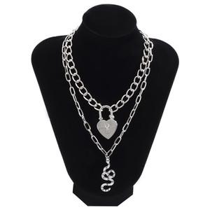 6 pz / lotto europeo doppio strato serpente collane retrò serratura a cuore tassel catena trasversale donne in lega animale pendente collana gioielli