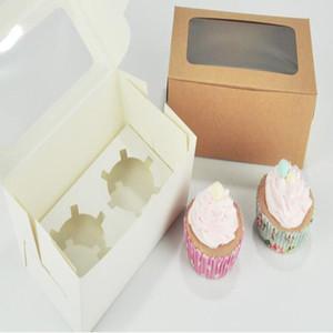 Tarjeta Kraft Papel Cupcake Box 2 tazas de pasteles Muffin Cake Cajas Postre portátil Paquete Caja Bandeja Regalo Favor BWC3943