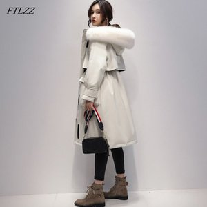 FTLZZ Large Real Fox Fur 90% White Duck Down Long Coat Winter Jacket Women Parkas Thick Warm Waterproof Overcoat 201118
