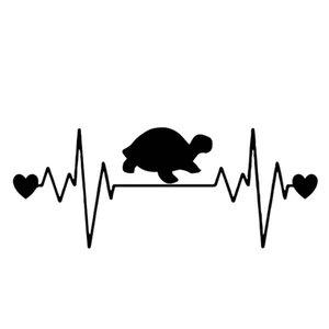 16.4cm * 6.6cm Herzschlag Schildkröte Kreative Auto Aufkleber Körper des Autos Vinyl Aufkleber Schwarz / Silber C4-1344
