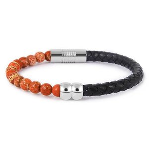 Fysara Tiger Eye Lava Natural Stone Beads Bracelet Male Punk Stainless Steel Leather Magnet Pulseras Men Buddha Fashion Jewelry sqcEay