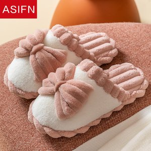 ASIFN Cute Bowknot Winter Home Women Fur Slippers Cute Design Warm Plush Bedroom Non-slip Couples Flock Indoor Ladies Shoes J1205