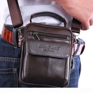 Mens Cowhide Leather Messenger Shoulder Cross Body Bag Pouch Waist Fanny Belt Hip Bum Male Tote HandBag Purse Handbags