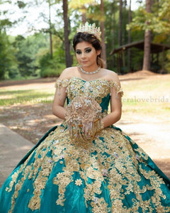 vestidos de 15 años Quinceanera Dresses with Gold Sequins Applique Sweet 16 Dress Off the Shoulder Pageant Prom Party Gowns