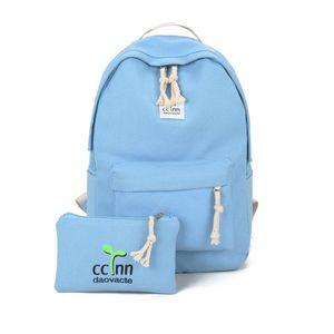 2PCS SET Fashionable Design Women Canvas Backpack Casual Teenage Girls Students School Bag