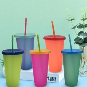 24oz Color Changing Cup 5 Colors Reusable Cold Water Discoloration Cup Magic Plastic Drinking Tumblers with Lid and Straw CCA12643 25pcs