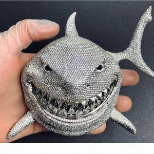 6ix9ine shark pendant full of zircon personality rap Necklace Hip hop Men Jewelry Gift beaded charms Necklaces