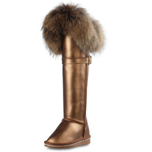 RUIYEE ladies over the knee boots fox fur snow boots fashion cowhide boots new waterproof women's bootsZ1204