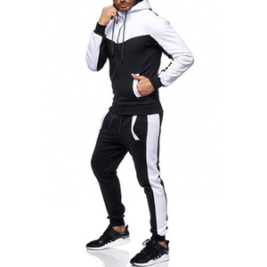 2 Pieces Autumn Running Tracksuit Men Zipper Hoodie Jacket Sweatshirt+ Pants Sports Set Gym Clothes Mens Sportwear Outfit 3xl
